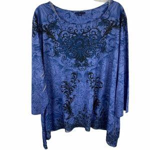 Westbound Woman Knit Top Blue Print 3X Longer Side